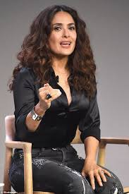 in satin blouses salma hayek in a lipstick printed blouse before baring cleavage in