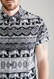 forever 21 paisley elephant print shirt in black for men lyst