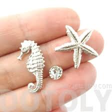 allergy earrings pretty seahorse and starfish shaped allergy free silver stud