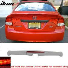 honda civic spoiler brake light 06 11 honda civic 4dr rear trunk spoiler wing md frp red led brake