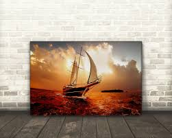 Sailboat Home Decor Sailboat On Open Ocean With Storm Blowing In Boat Canvas Art