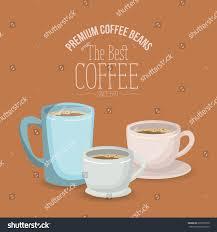 color poster set mugs porcelain cups stock vector 695338570