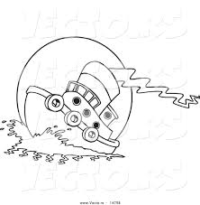 vector of a cartoon tug boat at sea coloring page outline by