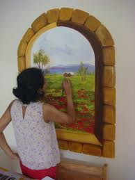 oormila s paintings a view of tuscany through a wall in singapore i made this mural on thick board which was then cut out and velcored on the wall so here is a view of tuscany from a window in singapore