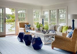 Striped Living Room Chair Cottage Living Room With Seagrass Roll Arm Chairs And Cobalt Blue