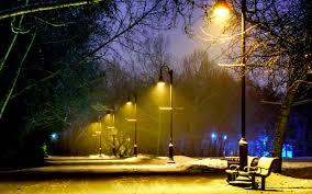 winter winter lights night benches snow park desktop wallpaper