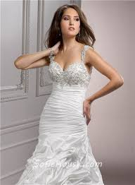 detachable wedding dress straps a line corset back beaded taffeta wedding dress with