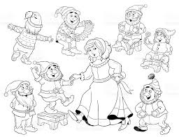 snow white and the seven dwarfs fairy tale coloring page coloring