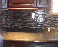 Cherry Wood Kitchen Cabinets With Black Granite Interesting Small Kitchen Decoration Using Black Glass Tile