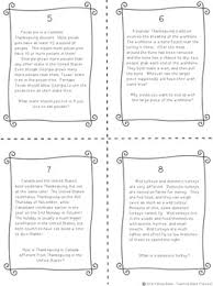 reading comprehension task cards nonfiction thanksgiving text