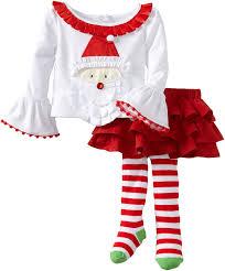 amazon com mud pie baby girls u0027 santa ribbon skirt set multi