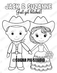 bride and groom coloring page country western bride groom wedding party favor childrens