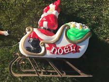 Blow Mold Christmas Yard Decorations Christmas Santa Reindeer Sled Sleigh Presents Blow Mold Yard