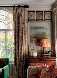Painting Fabric Curtains Kit Kemp Robert Kime Fabric Made Into Curtains Sits Alongside A