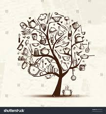 Kitchen Design Sketch Art Tree Kitchen Utensils Sketch Drawing Stock Vector 92522932