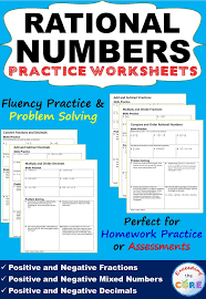 this resource includes 6 rational numbers practice worksheets
