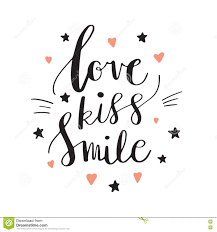 Love And Stars Quotes by Love Kiss Smile Decorative Letters Hearts And Stars Hand Drawn