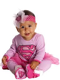 halloween costumes for babies 12 months dc comics supergirl onesie and headpiece costume pink 6 12