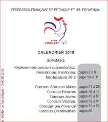Calendrier Fdration Franaise De De La Fédération Française De Pétanque Et Jeu Provençal 2018