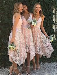 a line asymmetrical v neck pearl pink lace homecoming bridesmaid