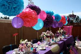 10 tissue paper pom poms mad hatter tea party decorations