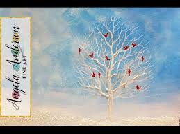 easy winter white tree with cardinals acrylic painting tutorial