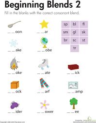 beginning blends 2 first grade writing worksheets and first grade