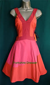 new karen millen red pink orange 50s style colourblock party dress