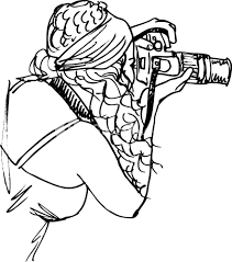 sketch of young beautiful woman taking a photo with a digital