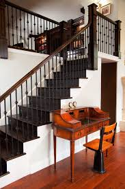 Wood Stair Banisters Wrought Iron Stair Railing Staircase Contemporary With Custom Rail