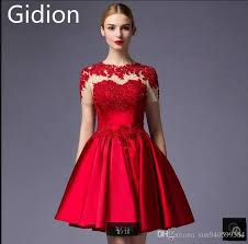 New Design Cheap Red Lace Short Prom Dress Appliques Sheer Back