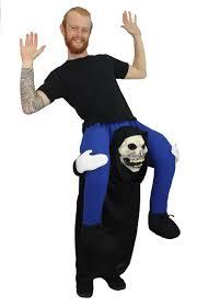 piggy back fancy dress adults grim reaper funny halloween