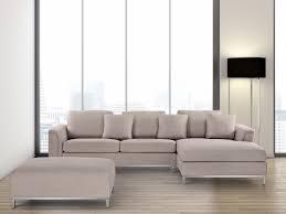 canapé beige tissu canapé d angle g canapé avec pouf en tissu beige sofa oslo