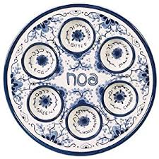 messianic seder plate passover seder plate for pesach food ceramic 12 blue