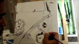 volkswagen old van drawing volkswagen camper van acrylic on canvas youtube