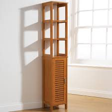 tall bathroom storage cabinet bamboo style floor standing cupboard