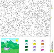 color by number educational game for kids purple dragon playind