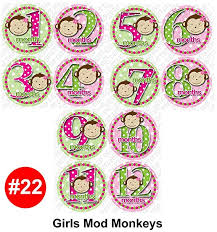 mod baby shower girl mod monkeys baby month onesie stickers baby