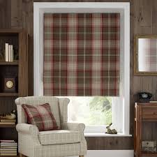 Thermal Lined Roman Blinds Red Highland Check Blackout Roman Blind Dunelm Living Room