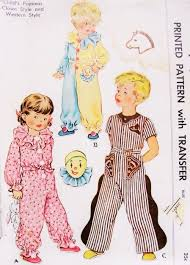 sweet childrens pajamas pattern mccall 1548 clown or western