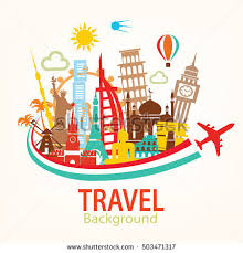 world travel background landmarks silhouettes icons stock vector
