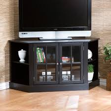 tv unit with glass doors furniture black tall corner tv cabinet with framed glass doors