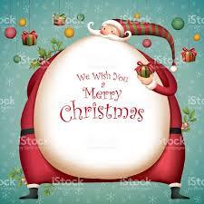 christmas card fat santa with christmas ornaments stock vector art