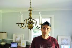 Painting Brass Chandelier Upgrading An Old Chandelier With Paint U0026 A New Shade Young House