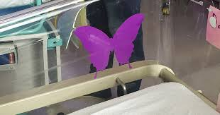 what purple butterfly stickers at the hospital