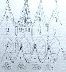 drawing perspectives in the forest at sagrada familia barcelona