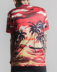hawaiian palm tree t shirt for colourful sunset