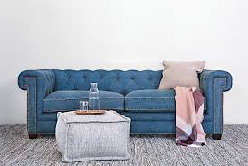 Teal Tufted Sofa by Otb Denim Tufted Sofa Living Spaces