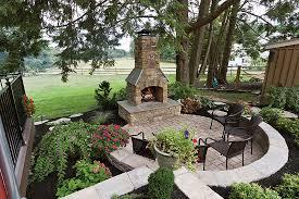 Outdoor Fireplace Patio Designs Garden Excellent Rustic Patio Design With Masonry Rock