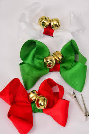 hair bow large xmas jingle bells 4
